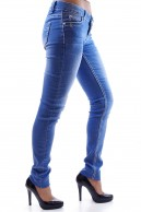 FADED SKINNY JEANS WITH WHITE TRIPLE STICH DETAIL